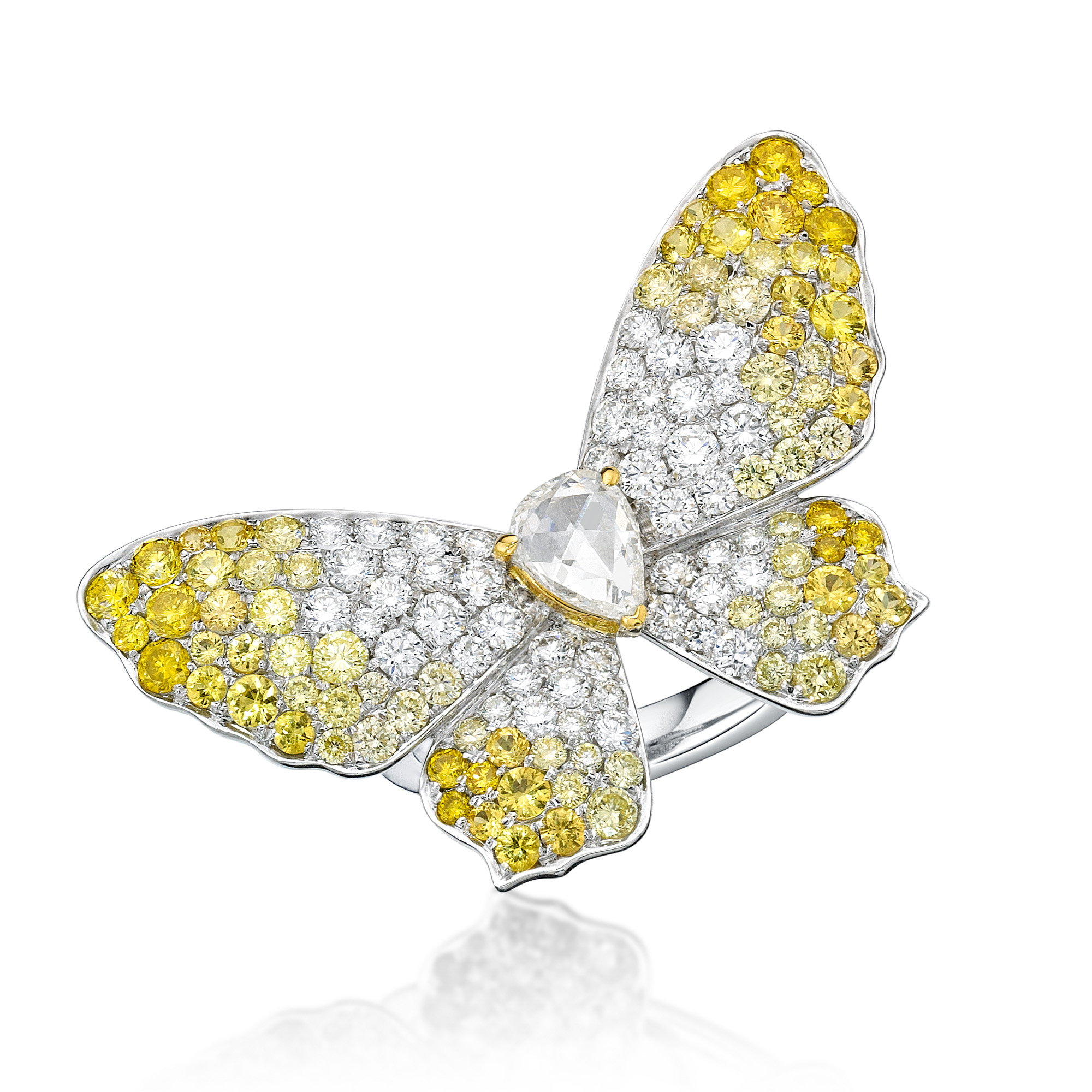 diamond white ring butterfly vfj gold