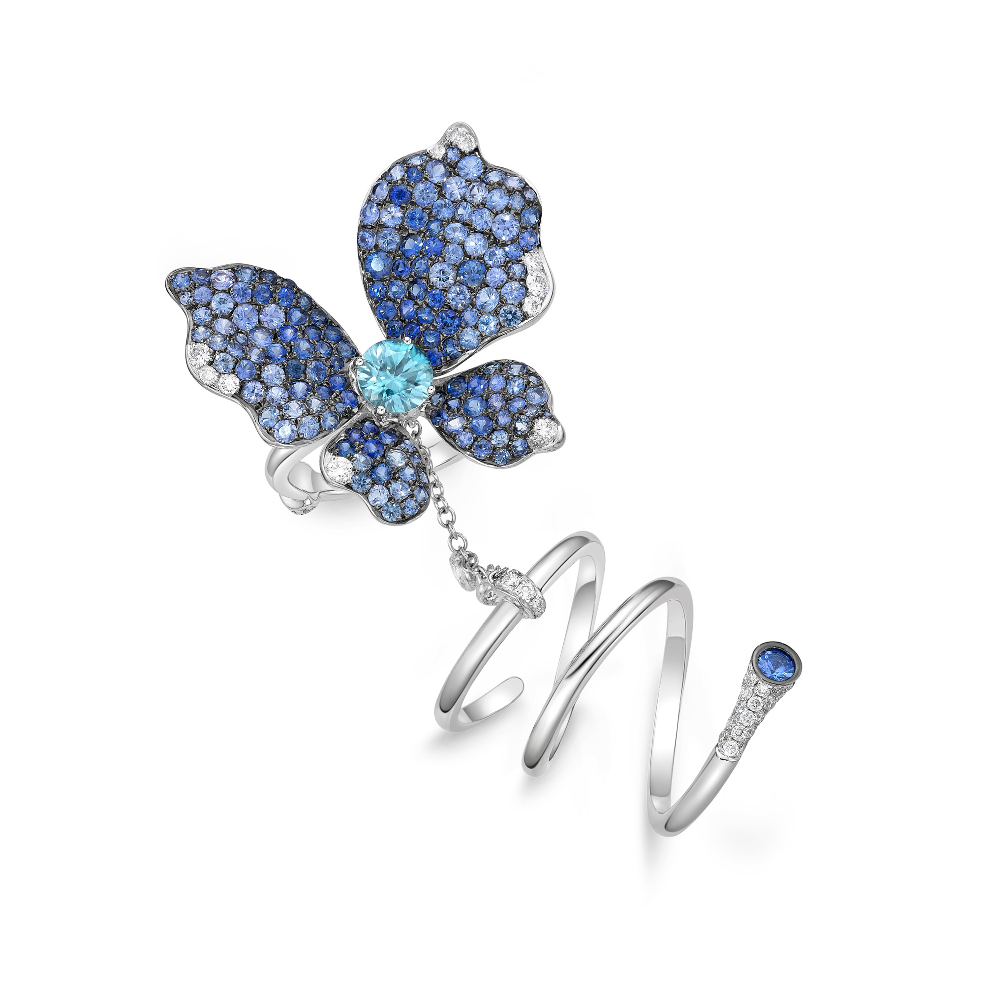 sapphire butterfly precious stones eleuteri collections multicolor brooch